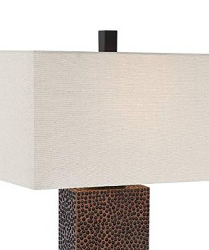 Caldwell Modern Table Lamps Set Of 2 Speckled Brown Column Rectangular Fabric Shade For Living Room Bedroom Bedside Nightstand Office Family 360 Lighting 0 0 300x360