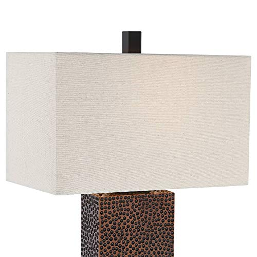 Caldwell Modern Table Lamps Set Of 2 Speckled Brown Column Rectangular Fabric Shade For Living Room Bedroom Bedside Nightstand Office Family 360 Lighting 0 0
