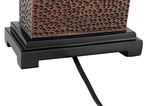 Caldwell Modern Table Lamps Set Of 2 Speckled Brown Column Rectangular Fabric Shade For Living Room Bedroom Bedside Nightstand Office Family 360 Lighting 0 2