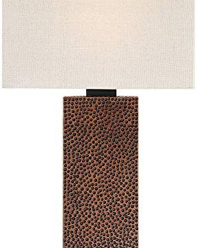 Caldwell Modern Table Lamps Set Of 2 Speckled Brown Column Rectangular Fabric Shade For Living Room Bedroom Bedside Nightstand Office Family 360 Lighting 0 3 286x360