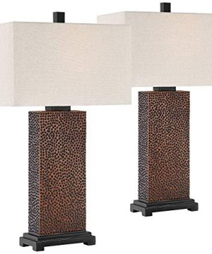Caldwell Modern Table Lamps Set Of 2 Speckled Brown Column Rectangular Fabric Shade For Living Room Bedroom Bedside Nightstand Office Family 360 Lighting 0 300x360