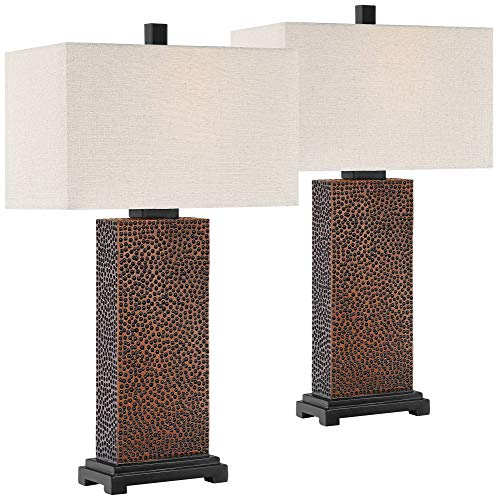 Caldwell Modern Table Lamps Set Of 2 Speckled Brown Column Rectangular Fabric Shade For Living Room Bedroom Bedside Nightstand Office Family 360 Lighting 0