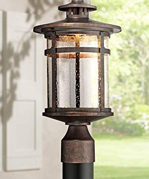 Callaway Mission Post Light Fixture LED Bronze 15 12 Seeded Glass For Deck Garden Yard Franklin Iron Works 0 300x360