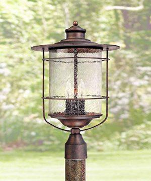 Casa Mirada Industrial Farmhouse Outdoor Post Light Bronze 19 34 Clear Seedy Glass Lantern For Exterior Garden Yard Franklin Iron Works 0 300x360