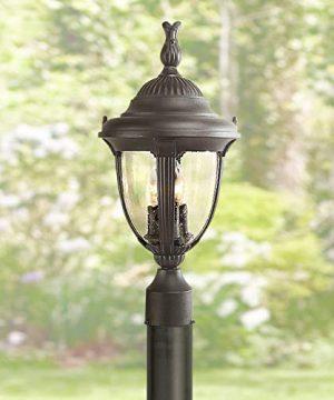 Casa Sierra Traditional Outdoor Post Light Sleek Black 19 12 Seeded Glass For Exterior Deck Garden Yard John Timberland 0 300x360
