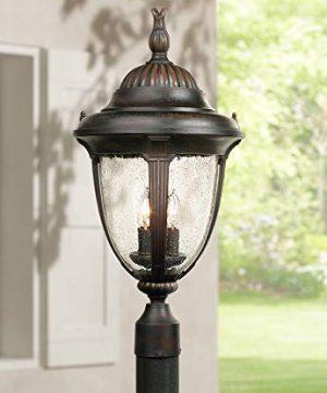 Casa Sierra Traditional Post Light Fixture Bronze 24 12 Clear Seedy Glass Lantern For Exterior Garden Yard Patio Driveway John Timberland 0 300x360