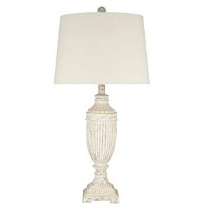 Catalina Lighting 22797 001 Rustic Farmhouse Faux Wood Urn Table Lamp 28 Distressed White 0 300x309