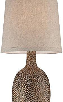 Chalane Modern Accent Table Lamps Set Of 2 Hammered Antique Bronze Natural Linen Tapered Shade For Living Room Family Bedroom 360 Lighting 0 223x360