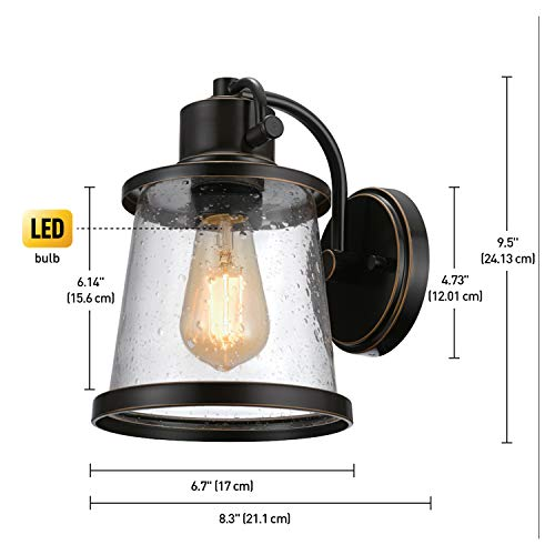 Charlie Outdoor Indoor Wall Sconce LED Bulb Included Oil Rubbed Bronze Clear Seeded Glass Shade44127 0 1