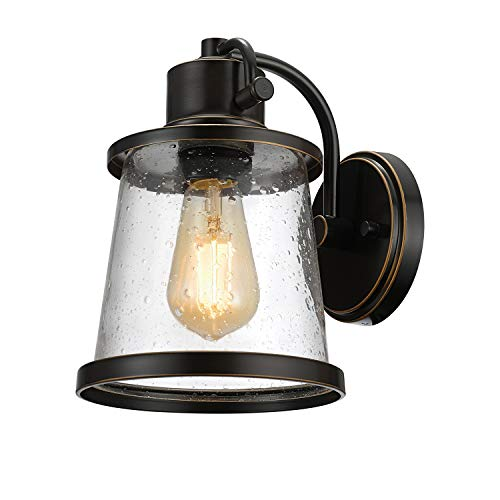 Charlie Outdoor Indoor Wall Sconce LED Bulb Included Oil Rubbed Bronze Clear Seeded Glass Shade44127 0
