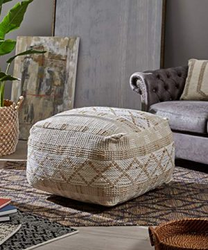 Christopher Knight Home 307629 Mag Large Square Casual Pouf Boho Ivory Chindi And Hemp 0 0 300x360