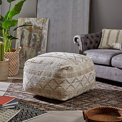 Christopher Knight Home 307629 Mag Large Square Casual Pouf Boho Ivory Chindi And Hemp 0 0