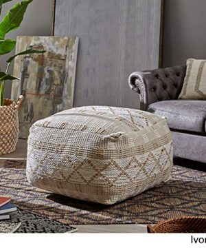 Christopher Knight Home 307629 Mag Large Square Casual Pouf Boho Ivory Chindi And Hemp 0 1 300x360