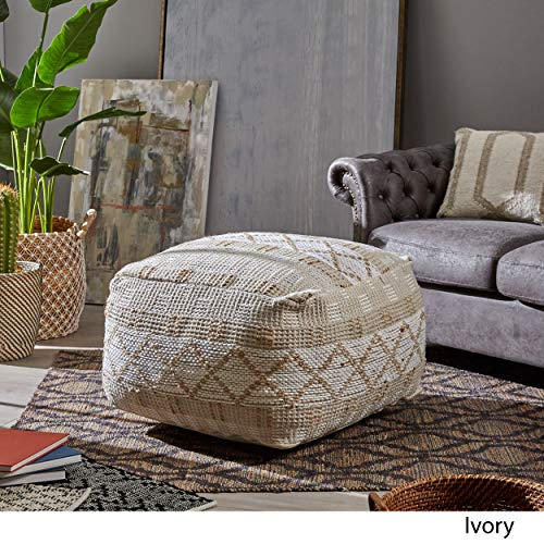 Christopher Knight Home 307629 Mag Large Square Casual Pouf Boho Ivory Chindi And Hemp 0 1