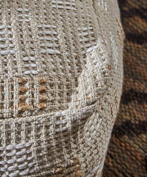Christopher Knight Home 307629 Mag Large Square Casual Pouf Boho Ivory Chindi And Hemp 0 2 300x360