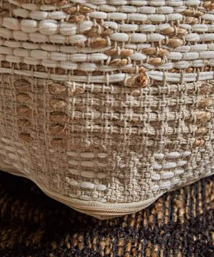 Christopher Knight Home 307629 Mag Large Square Casual Pouf Boho Ivory Chindi And Hemp 0 3 300x360