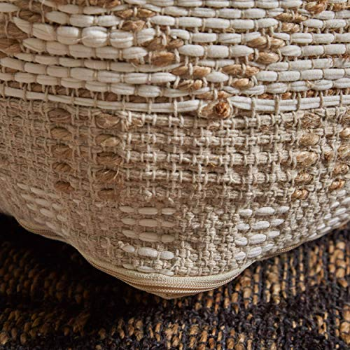 Christopher Knight Home 307629 Mag Large Square Casual Pouf Boho Ivory Chindi And Hemp 0 3