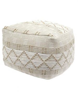 Christopher Knight Home 307629 Mag Large Square Casual Pouf Boho Ivory Chindi And Hemp 0 300x360