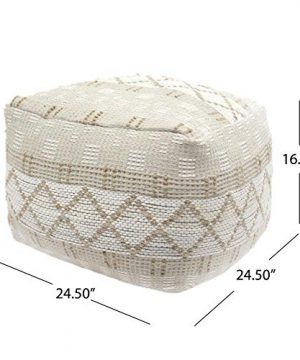 Christopher Knight Home 307629 Mag Large Square Casual Pouf Boho Ivory Chindi And Hemp 0 4 300x360