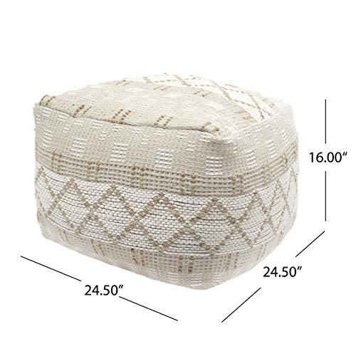 Christopher Knight Home 307629 Mag Large Square Casual Pouf Boho Ivory Chindi And Hemp 0 4