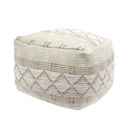 Christopher Knight Home 307629 Mag Large Square Casual Pouf Boho Ivory Chindi And Hemp 0