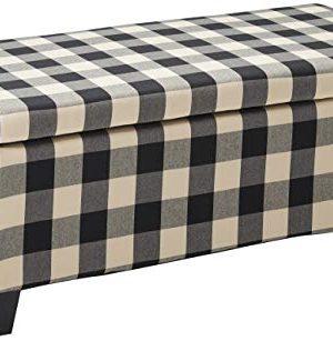 Christopher Knight Home Breanna Fabric Storage Ottoman Black Checkerboard 0 300x307