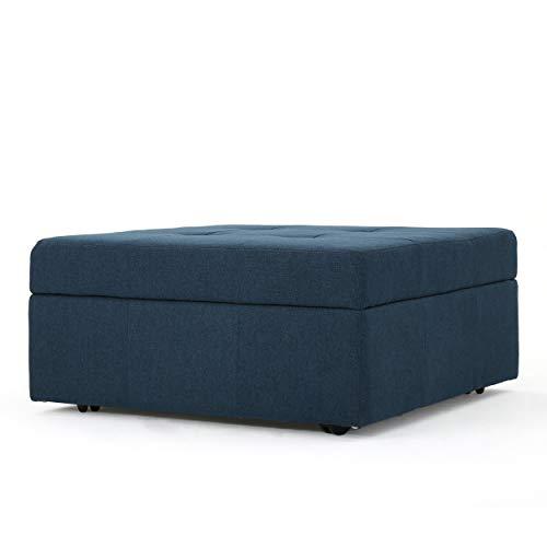 Christopher Knight Home Chatsworth Fabric Storage Ottoman Navy Blue 0