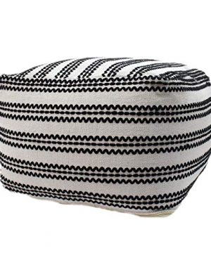 Christopher Knight Home Lillian Large Square Casual Pouf Contemporary Black And Natural Cotton 0 300x360
