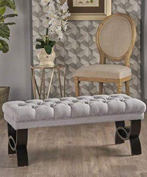 Christopher Knight Home Scarlett Fabric Ottoman Bench Light Grey 0 300x360