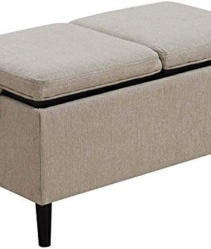 Convenience Concepts Designs4Comfort Magnolia Storage Ottoman With Trays Soft Beige Fabric 0 300x354