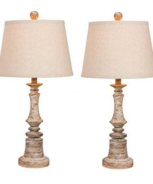 Cory Martin W 6240CABG 2PK Fangio Lightings 6240CABG 2PK Pair Of 265 In Distressed Candlestick Resin Table Lamps In A Cottage Antique Beige Finish 2 Piece 0 300x360