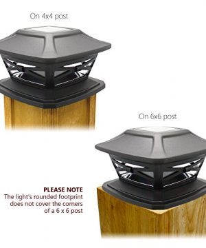 Davinci Flexfit Solar Post Cap Lights Outdoor Lighting For 4x4 5x5 And 6x6 Wooden Posts Bright Warm White LEDs Slate Black 2 Pack 0 3 300x360