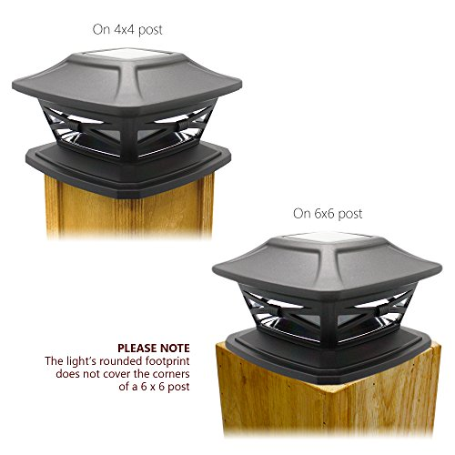 Davinci Flexfit Solar Post Cap Lights Outdoor Lighting For 4x4 5x5 And 6x6 Wooden Posts Bright Warm White LEDs Slate Black 2 Pack 0 3