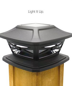 Davinci Flexfit Solar Post Cap Lights Outdoor Lighting For 4x4 5x5 And 6x6 Wooden Posts Bright Warm White LEDs Slate Black 2 Pack 0 300x360