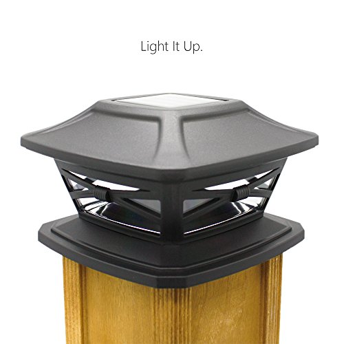 Davinci Flexfit Solar Post Cap Lights Outdoor Lighting For 4x4 5x5 And 6x6 Wooden Posts Bright Warm White LEDs Slate Black 2 Pack 0
