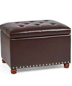 Brown Decent Home Storage Ottoman Stool Foot Rest for Entryway Living Room