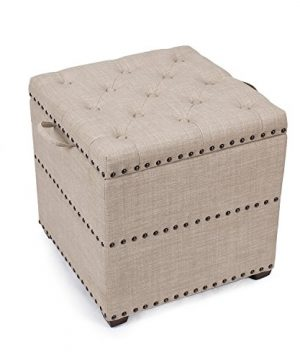 Decent Home Storage Ottoman Cube Foot Rest Stool Square Coffee Table With Tray Lid Beige 0 300x360