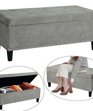 Decent Home Storage Ottoman Fabric Rectangular Button Tufted Bench For Bedroom Living Room Or EntrywayGrey 0 300x360