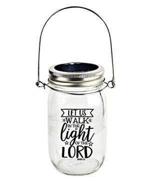 Dexsa Solar Canning Jar LED Light Automatic And Safe Illuminates Using Solar Power Solar Panel LED Glow Modern Farmhouse Let Us Walk In The Light Of The Lord Isaiah 25 0 300x360