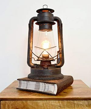 Dimmable Electric Lantern Table Lamp Large Rustic Rust Finish 0 300x360