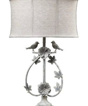 Dimond 113 1134 Linen Shade French Country Two Birds Iron Table Lamp 0 300x360