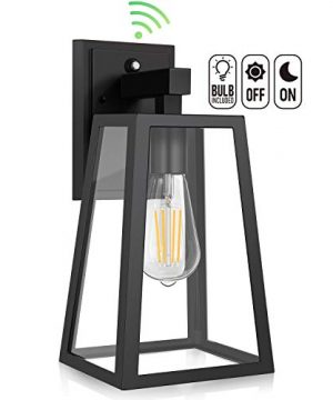 Dusk To Dawn Sensor Outdoor Wall Lantern Exterior Wall Sconce Fixture With E26 Base LED Bulb Anti Rust Waterproof Matte Black Wall Lamp Clear Glass For Garage Doorway Porch Garden Courtyard 0 300x360
