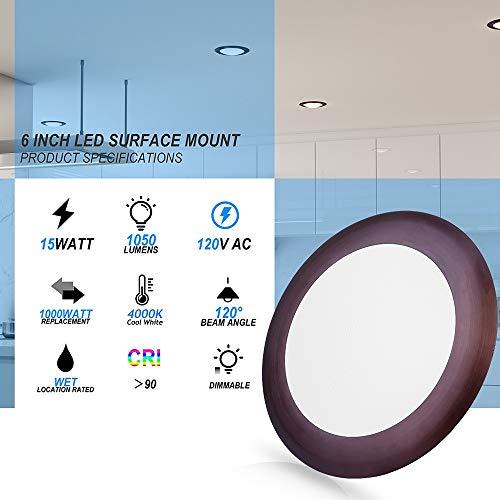 ECOELER 56 Dimmable LED Disk Light Flush Mount Ceiling Fixture For Home Improved Bronze Color Aluminum Baffle Trim 15W CRI90 PF09 4000K Cool White 4 Pack 0 0
