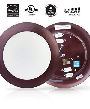 ECOELER 6 Inch 15W Dimmable LED Disk Light Pack Of 10 Aluminum Baffle Bronze Trim Round Flush Mount Recessed Retrofit 3000K Warm White CRI90 1050lm Damp Rated 0 2 300x360