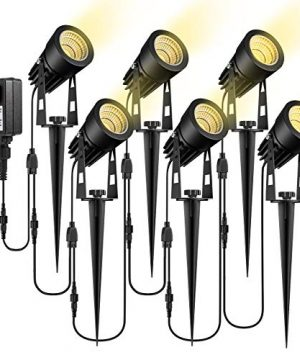 ECOWHO Low Voltage Landscape Lights 12V Outdoor Landscape Lighting LED Spot Lights Plug In Waterproof Garden Lights For Flood Yard Driveway Path Warm White 6 Pack 0 300x360