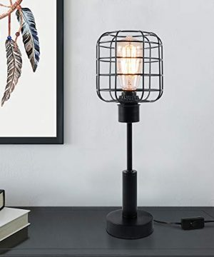 Edison Lamp Industrial Desk Lamp Metal Shade Cage Table Lamp For Nightstand Bedside Dressers Coffee Table Night Light Home Decor Black 0 300x360