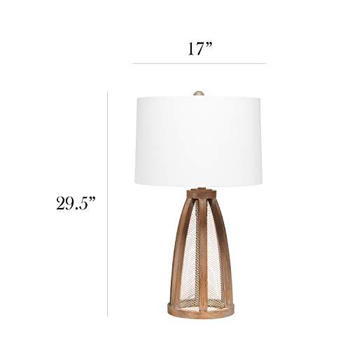 Elegant Designs LT3309 OWD Vintage Farmhouse Netted 2 Light Table Lamp Old Wood 0 1