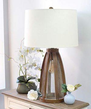 Elegant Designs LT3309 OWD Vintage Farmhouse Netted 2 Light Table Lamp Old Wood 0 2 300x360