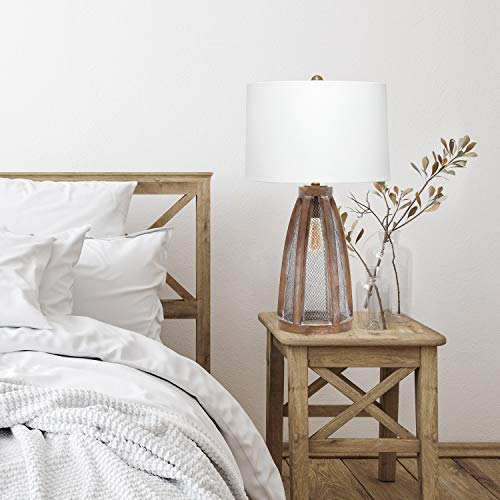 Elegant Designs LT3309 OWD Vintage Farmhouse Netted 2 Light Table Lamp Old Wood 0 3