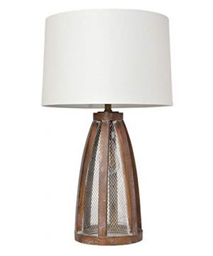 Elegant Designs LT3309 OWD Vintage Farmhouse Netted 2 Light Table Lamp Old Wood 0 300x360